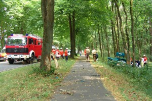 Verkersunfall mit Feuerwehreinsatz